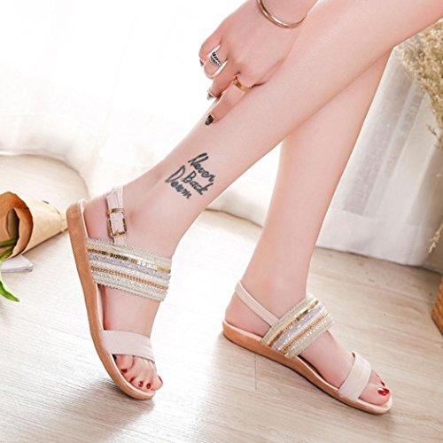 huichang Beautiful Women Bohemia Slippers Flip Flops Flat Sandals Toe Beach Gladiator Ankle Shoes Beige W6CDKhmr83