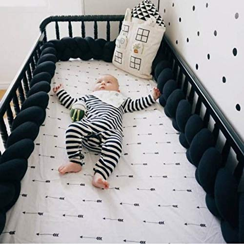 Baby Crib Bumper Knotted Braided Plush Nursery Cradle Decor Newborn Gift Pillow Cushion Junior Bed Sleep Bumper Black 156 inch