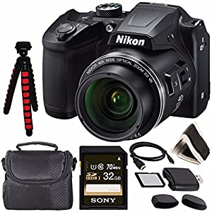 """Nikon COOLPIX B500 Digital Camera (Black) 26506 + Sony 32GB UHS-I SDHC Memory Card (Class 10) + Flexible 12"""" Tripod + Small Soft Carrying Case + HDMI Cable + Card Reader + Memory Card Wallet Bundle"""