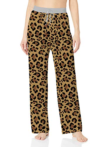 ALISISTER Womens Pajama Bottoms Comfy Palazzo Lounge Pants Wide Leg Cute Leopard Home Loose Sleepwear with Elastic Drawstring S