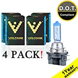 Voltage Automotive H11B Headlight Bulb Polarize White Replacement (4 Pack) - Professional Upgrade Head Light Bulb