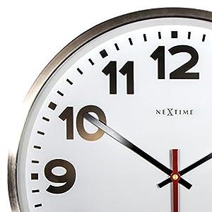 """NeXtime Reloj de pared - Estación de trenes """"SUPER STATION"""", blanco, redondo, ø 55 cm 3"""
