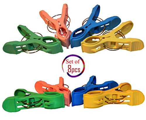 Pack of 8 Double Thickness Jumbo Beach Towel Clips, Cloth...
