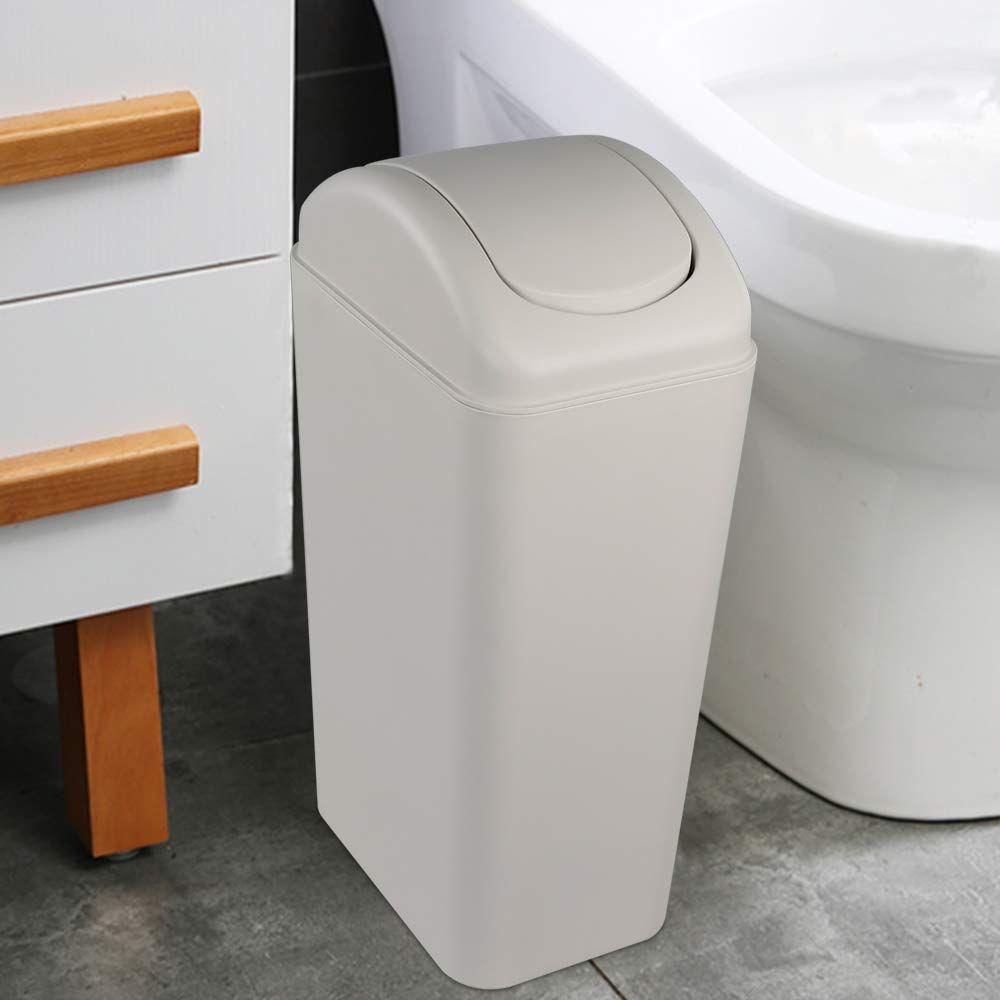 Obston Slim Plastic Trash Can for Narrow Spaces at Home or Office 5 Gallon//14L Capacity