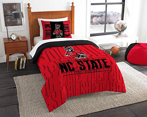 "Nc State Wolfpack 2 Piece - NC State Wolfpack - 2 Piece TWIN Size Printed Comforter Set - Entire Set Includes: 1 Twin Comforter (64""x86"") & 1 Pillow Sham - NCAA College Bedding Bedroom Accessories"