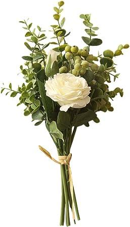 5 Head Medium Rose Bunch Vert Fleurs Artificielles Bouquet