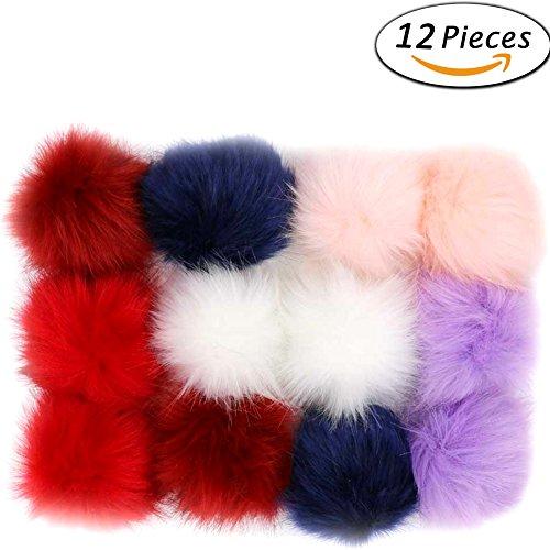 Ladies Hat Charm (Dr Nezix DIY 12pcs Faux Fox Fur Fluffy Pompom Ball for Hat Shoes Scarves Bag Charms (D))