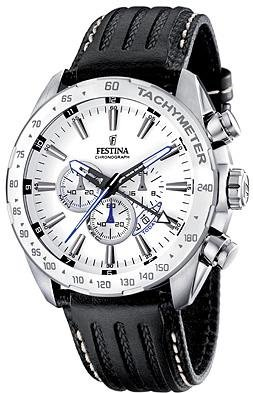 Festina Men's Stainless Steel White Dial Black Strap Chronograph Watch F16489/1 (Dial White Stainless Watch)