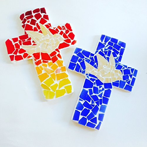 Mosaic Wall Cross Blue or Red Ombre, Handcrafted, Wall Cross