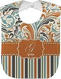 Orange Blue Swirls & Stripes Baby Bib (Personalized)