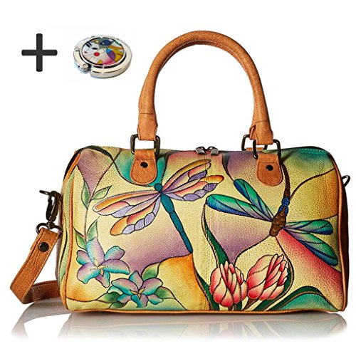 Anna By Anuschka Satchel Handbag & Purse Holder (Round Dragonfly Glass Painting) by ANUSCHKA