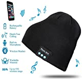 FIXKIT Music Beanie, Rechargeable Bluetooth Music Hat with USB Charging Cable, Wireless Stereo Headset Hat with Microphone, Unisex Bluetooth Beanie Hat for Men and Women, Black
