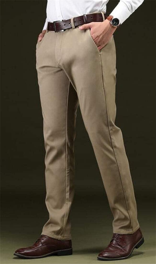 Sweatwater Men Flat-Front Wrinkle-Free Thick Trousers Fleece Slim Pants