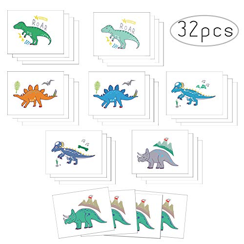 (Non-Toxic Dinosaur Temporary Tattoos for Kids Great Children Party Favors Dino Birthday Party Face Body Sticker Jungle Jurassic T-rex Kindergarten Handmade 32pcs Tattoos)