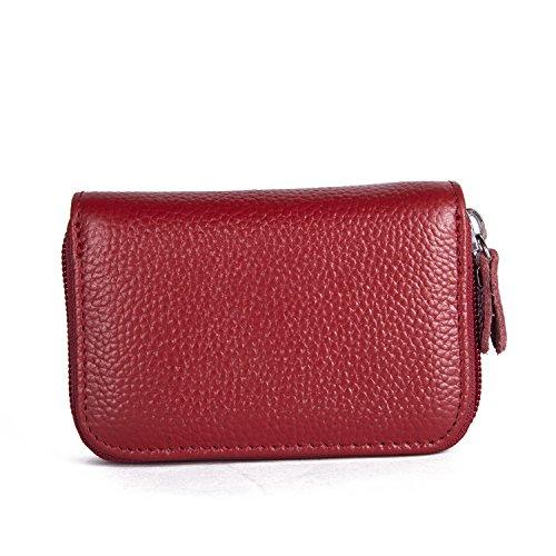 KQueenStar RFID cartera protector de cuero genuino para los hombres y las mujeres (café1) Rojo