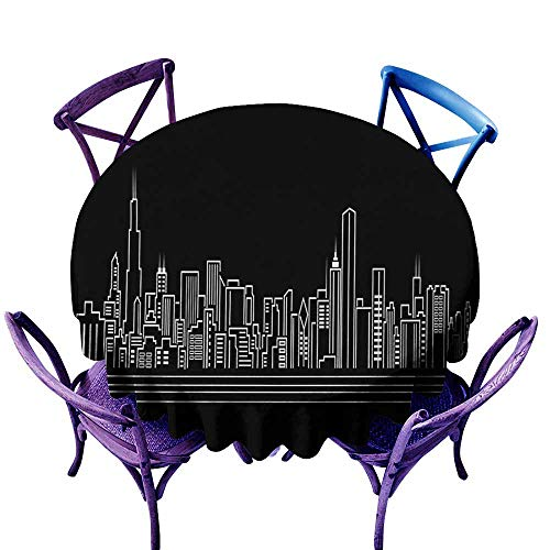 Zodel Resistant Table Cover,Chicago Skyline Line Abstract Style Urban Silhouette of Popular American Town Office Print,for Events Party Restaurant Dining Table Cover,47 INCH,Onyx White ()