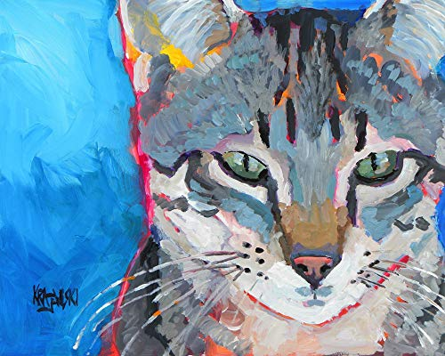 Gray Tabby Cat Art Print | Gray Tabby Cat Gifts | From Original Watercolor Painting by Ron Krajewski | Hand Signed in 8x10