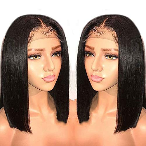 Bob Wigs 12-16inch Ombre Black Synthetic Lace Front Wig Short Natural Straight Wigs for Women Party Cosplay Heat Resistant,14inch -