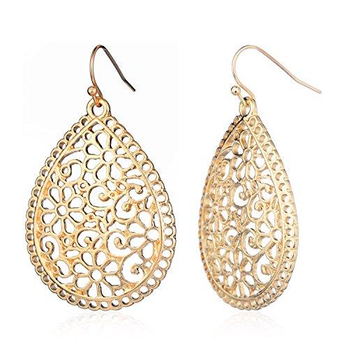 HUIMEI Silver Fishhook Filigree Teardrop Earrings with Clear Plugs Dangle Earrings