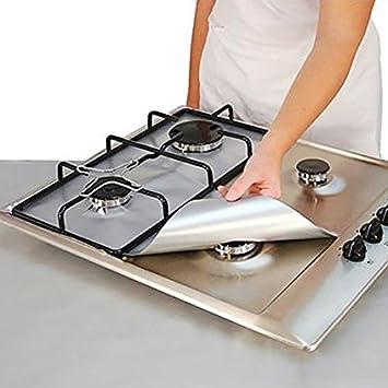 4 piezas cuadradas de lámina de gas Hob, forro protector reutilizable fácil de limpiar estufa de cocina, protector de aluminio, quemador de gas Medium ...