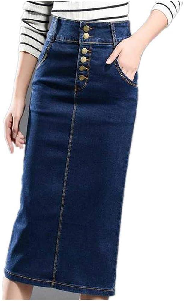 LJSF Falda de Jean de tamaño Grande con Cintura Alta y Falda Larga ...