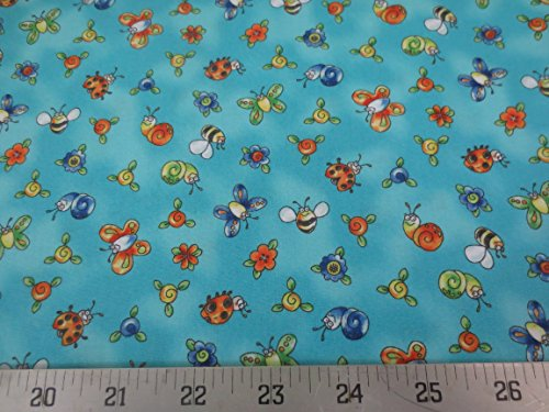 Turquoise Topsy Turvy With Lots Of Bugs & Butterflys Cotton Northcott Fabric