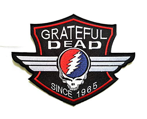 """6""""X 8"""" Large Big Size Patch Grateful Dead Since 1965 Music Band Logo Jacket t-Shirt Jeans Polo Patch Iron on Embroidered Logo Motorcycle Rider Biker Patch by Tour les jours Shop"""