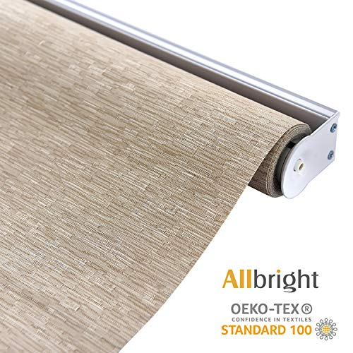ALLBRIGHT Cordless Spring System Roller Shades with UV Protection Thermal Roller Blinds Darkening Blackout Curtain for Windows (Brown, 35''W x 72''H)