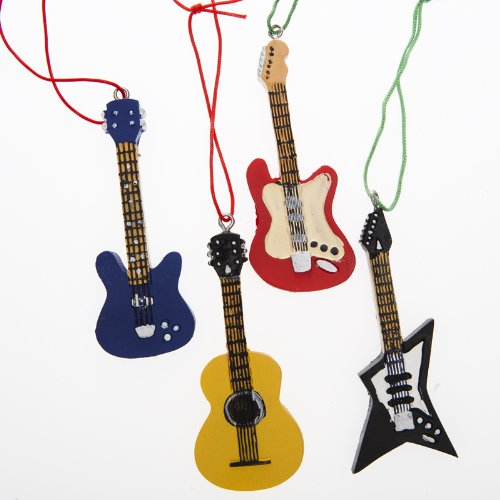 Music Themed Christmas Trees - 4 GUITAR CHRISTMAS tree ORNAMENTS music holiday