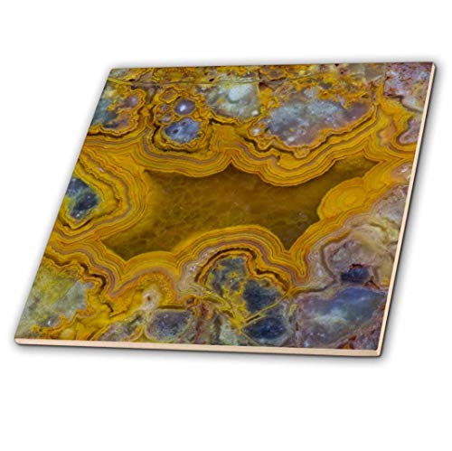 3D Rose Mexican Yellow Crazy Lace Agate Ceramic Tile, ()