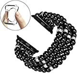Fastgo Compatible for Apple Watch Band 38mm 40mm, Handmade Beaded Elastic Stretch Pearl Bracelet Replacement Compatible for iWatch Strap Series 5/4/3/2/1 Women Girls(Black - 38/40mm)
