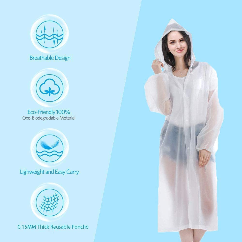 JMAR Outdoor Travel Adult Disposable Raincoat Thickened Unisex Clear EVA Material Sleeves for Travel Camping Hiking