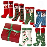 Kids Slipper Socks, Christmas Holiday Socks, Anti Slip Grips Cozy Fuzzy Slipper Socks,Nice Holiday Gift Box 6 PK