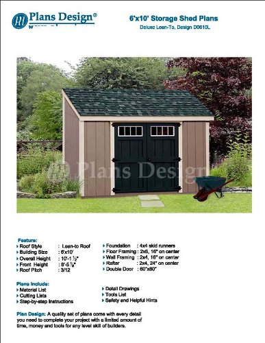 Lean To Roof Style 6 X 10 Deluxe Shed Plans Design