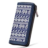 Women Canvas Zipper Clutch Purse Credit Card Wallets to Organize Your Cash,Bank Card and Phone with Removable Wristlet Strap (Elephant)