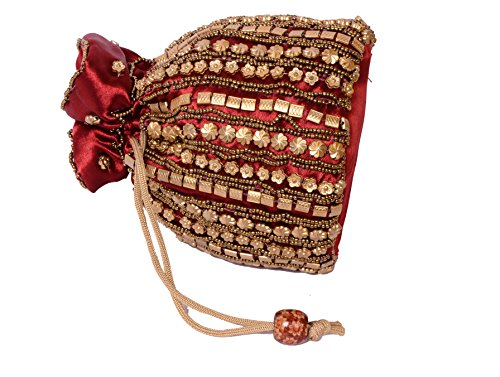 Girls Bag Women for Traditional Jaipuriya Style Maroon Satin amp; Potli 8xCFwUaq
