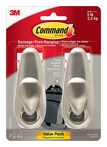 Command Forever Classic Metal Hook, Large, Brushed Nickel, 2-Hooks (FC13-BN-2ES) (Wall Color Bath No)