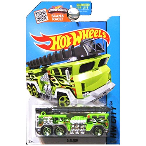 Hot Wheels 2015 HW City 5 Alarm (Fire Engine) 51/250, Neon Green ()