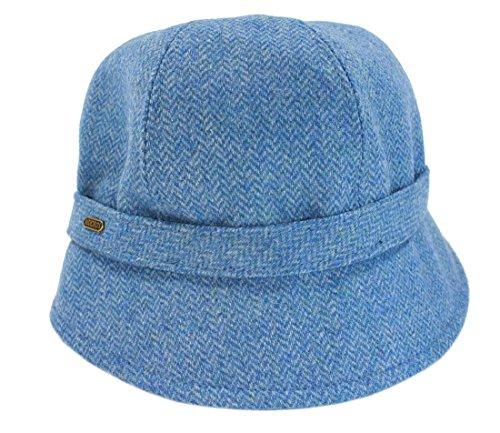 (Mucros Ladies Irish Flapper Hat Denim Herringbone Tweed From Ireland)