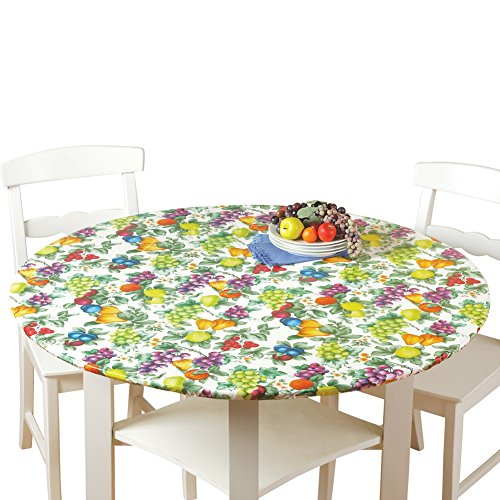 Collections Etc. Patterned Fitted Table Cover with Soft Flannel Backing and Durable Wipe-Clean Vinyl Construction, Fruit, Round