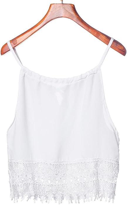 d4f100b86bd Alixyz Women Tank Tops Lace Hollow Out Spaghetti Strap Tops Sleeveless Crop  T-Shirt (