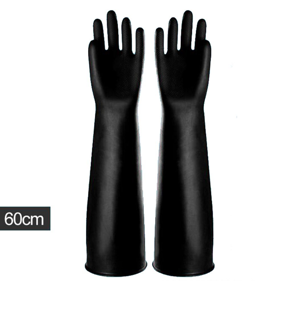 Yifant Industrial Gauntlet Gloves Long and Thick Rubber Latex Gloves Elbow Length 60cm Anti-acid Hand Protector Wear,Black 1 Pair