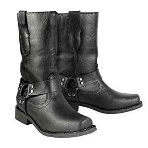 Xelement LU7028 Black Childrens Harness Leather Boots - Children's 12