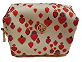 Tory Burch Brigitte Heart Print Cosmetic Beauty Bag Carmelite White Red
