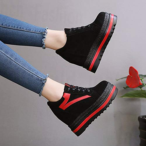 Block PU Creepers Fall poliuretano Nero White Casual Scarpe Bianco Round da Sneakers ZHZNVX Color Toe donna Comfort qZ4Cx1w