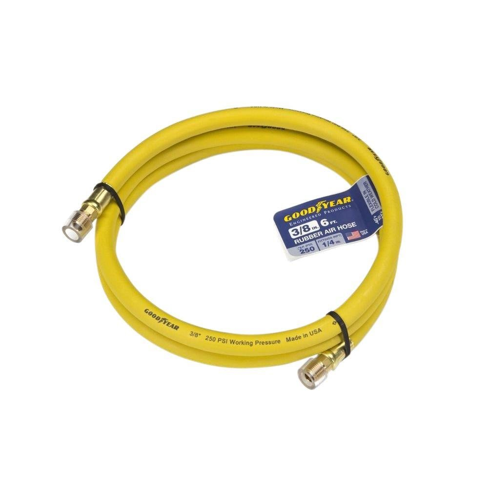Goodyear 6' x 3/8'' Rubber Whip Hose Yellow 250 PSI