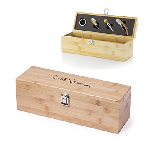 Caja para Botella de Vino con accesorios incluidos. Personalizada con el Texto Que tú Quieras: Amazon.es: Handmade