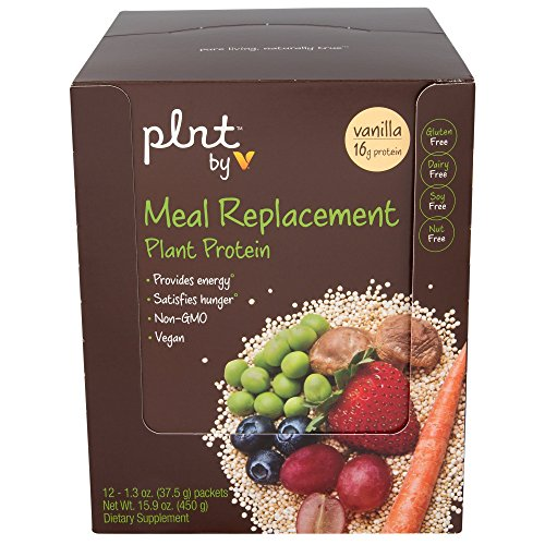 plnt Vanilla Meal Replacement Powder Vegan NonGMO Plant Protein That Provides Energy Satisfies Hunger, 16g of Protein Per Serving 12 Individual Packets