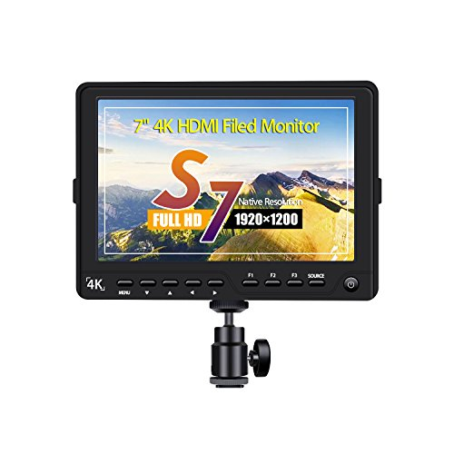 Eyoyo S7 7 Inch 1920x1200 Ultra HD 4K HDMI Field Video Monitor IPS LCD Screen for Canon Nikon Sony Olympus Pentax Panasonic DSLR Camera Camcorder (S7)