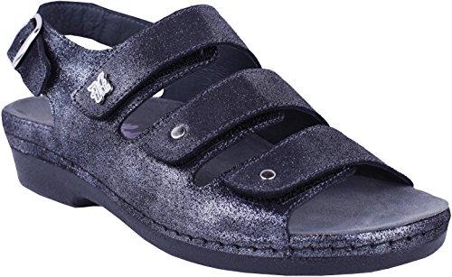 Helle Mode Komfort Kvindernes 356 - F 3 Velcro Slingback Sandal Sort Sølv T6Se2k1